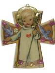 Schutzengelbild Engel mit Herz 12 x 10 cm