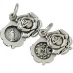 Maria Empfängnis Rose Christliches Schmuckmedaillon 2, 2 cm Metall, geschwärzt