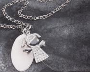 Taufe Schmuckanhänger Mädchen 2-tlg 925 Silberkette Zirkonia