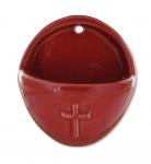 Weihwasserkessel Kreuz oval 10 cm rot Weihwasserbecken