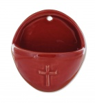 Weihwasserkessel Kreuz oval 8, 5 x 10 cm rot