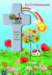 Kommunionkarte mit Holzkreuz, Zur Erstkommunion (1 Stck)