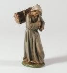Tiroler Krippe Hirtin mit Holzbündel bemalt 15 cm Krippen Figur Weihnachten