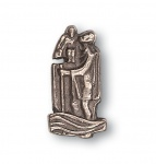 Christophorus Autoplakette 4 cm Neusilber selbstklebend