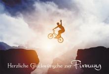 Glückwunschkarte Herzliche Glückwünsche zur Firmung (6 St) Sprung mit Fahrrad