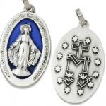 Wunderbare Wundertätige Medaille silber / blau 2, 8 cm zur Verehrung der Mutter Gottes