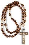 Rosenkranz geknüpft 32 cm nussbraune Perle Holzkreuz