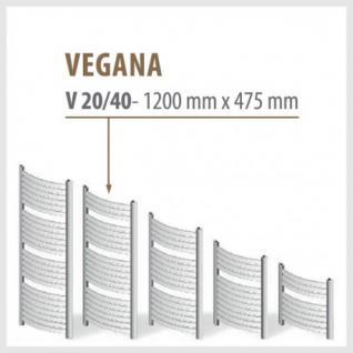 VEGANA Weiß - Badheizkörper Handtuchheizkörper Handtuchheizung (Höhe: 1200 mm, Breite: 475 mm)