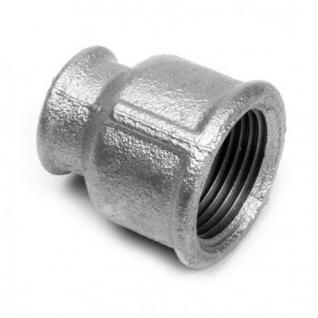"Gewindefitting Muffe Reduziert 3/4"" x 1/2"" DVGW Temperguss verzinkt Fitting Gewinde Temperguß Fittinge (Gewinde: 1"" x 1/2"")"