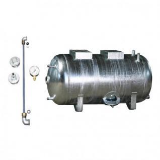Druckbehälter 100 bis 300L 6 bar liegend mit Zubehör verzinkt Druckwasserkessel Druckkessel für Hauswasserwerk (Volumen: 300 L)