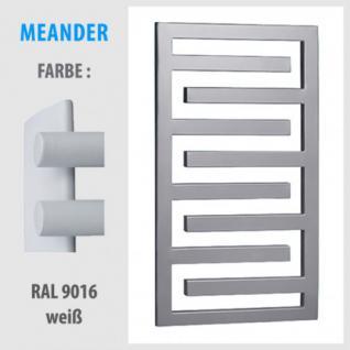 MEANDER 350x550 bis 1350x550 BADHEIZKÖRPER MITTELANSCHLUSS HEIZKÖRPER (Farbe: RAL 9016 weiß, Höhe: 750 mm)