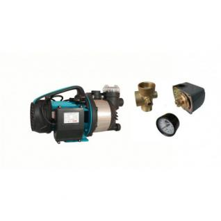 Wasserpumpe 1300W 80l/min inkl. Filter Druckschalter Manometer Jetpumpe Gartenpumpe Hauswasserwerk Kreiselpumpe