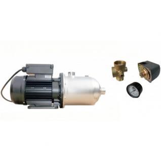 Wasserpumpe 1500W 110l/min Druckschalter Manometer Inox Jetpumpe Gartenpumpe Hauswasserwerk Kreiselpumpe