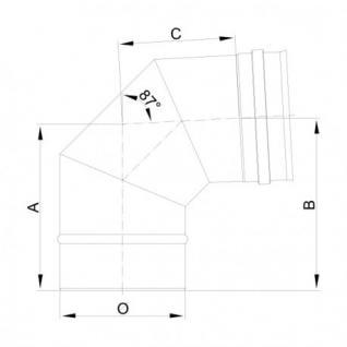 Winkel aus Edelstahl 87° DN 60 Bis 300 Abgasrohr Schornstein Rauchrohr (Durchmesser: 130) - Vorschau 3