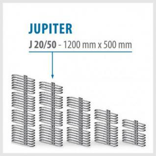 JUPITER Weiß - BADHEIZKÖRPER MITTELANSCHLUSS HEIZKÖRPER (Höhe: 1200 mm, Breite: 500 mm)