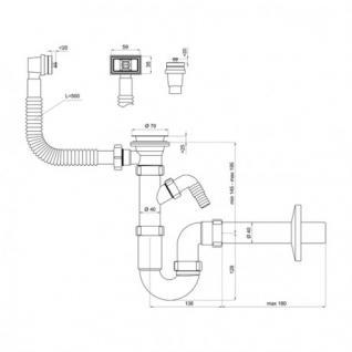 Siphon für die Spüle mit Anschluss an Geschirrspüler - Vorschau 2
