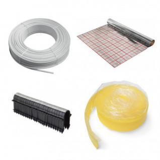 120 m² Fußbodenheizung Set: Folie, Mehrschichtverbundrohr, Randband, Tackernadeln