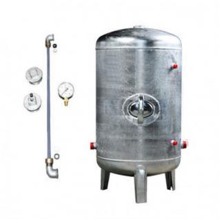 Druckbehälter 100 bis 500L 6 bar senkrecht mit Zubehör verzinkt Druckkessel für Hauswasserwerk (Volumen: 200 L)