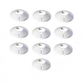 Abdeck Rosetten 10 Stk. für Heizungsrohr Kupferrohr Heizkörper 15-28 weiß (Durchmesser: 15 mm)