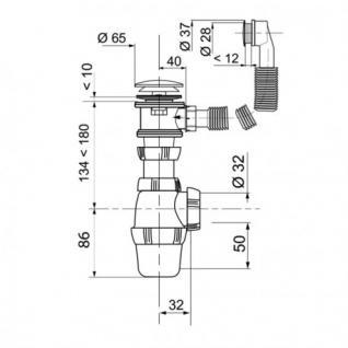 Siphon für das Waschbecken mit Push Open und ßberlaufgarnitur - Vorschau 2
