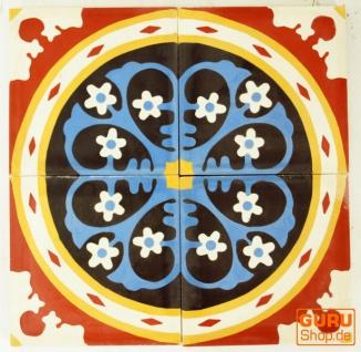 Zementfliesen Set, Ornament aus 4 Fliesen - Design 5