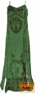 Besticktes Boho Sommerkleid, indisches Hippie Kleid - grün/Design 21