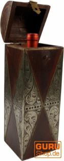 Weinflaschen Holz Box mit Messingverzierungen, Geschenkverpackung Weinflasche Geschenkbox, Weinbox, Wein Kiste - Modell 4