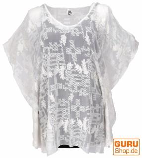 Cold Sholder Kaftan, Ibiza-StyleTunika, Boho Bluse, schulterfreie Damen Kurzarm Maxibluse - weiß