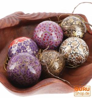 Upcyceling Weihnachtskugel Set aus Pappmachee, Handbemalter Christbaumschmuck, Kaschmirkugeln - lila/schwarz