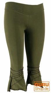 Elfen Leggings, Psytrance Goa Stretch Damenhose - olive