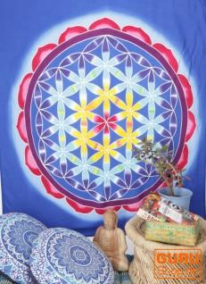 Wandbehang, Wandtuch, Wandbild, Batiktuch - Blume des Lebens /blau