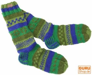 Handgestrickte Schafwollsocken, Nepal Socken 44-46 - grün/blau