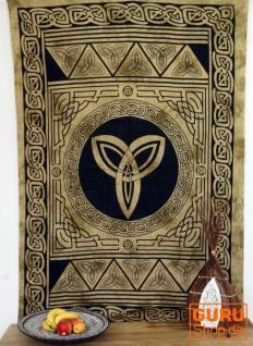 Indisches Wandtuch, Batik Tagesdecke - Keltischer Knoten / ocker