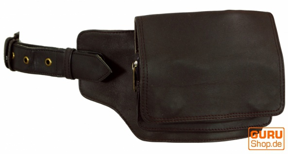 Sidebag, Leder Gürteltasche, Goa Tasche - braun