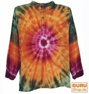 Batikhemd, Hippie Boho Hemd, Festival Hemd - orange/bunt - Vorschau