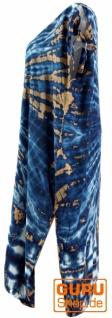Boho Kaftan, langes Kurzarm Batikkleid, Strandkleid, Sommerkleid in Übergröße - blau - Vorschau 3
