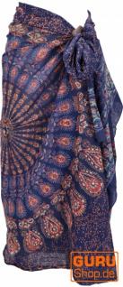 Leichter Mandala Pareo, Sarong, handbedrucktes Baumwolltuch, Wandbehang - Modell 15