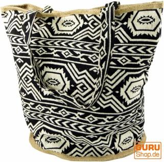 Handgefertigte Boho Shopper Tragetasche, Strandtasche, Einkaufstasche - schwarz
