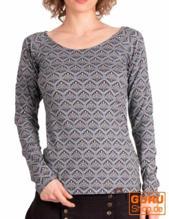 Pullover, Langarmshirt aus Bio-Baumwolle / Chapati Design - grey retro