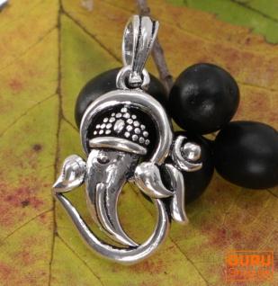 Amulett `Ganesha im OM`, silberner Kettenanhänger aus Messing - Model 5