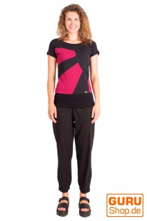 T-Shirt aus Bio-Baumwolle / Chapati Design - black/fuchsia - Vorschau 2