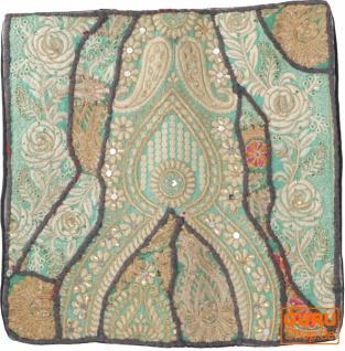 Patchwork Kissenhülle, Dekokissen Bezug aus Rajasthan, Einzelstück - Muster 13