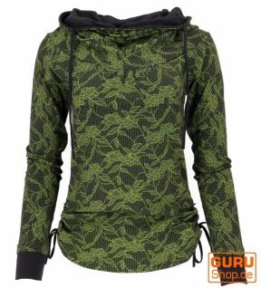 Longshirt aus Bio-Baumwolle, Boho Shirt Schalkapuze - schwarz/lemon