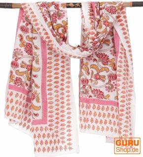 Leichter Pareo, Sarong, handbedrucktes Baumwolltuch - rot Kombination 20