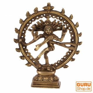 Messingfigur, Statue Shiva im Feuerkranz 17 cm - Motiv 11