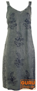 Besticktes Boho Sommerkleid, Midikleid, indisches Hippie Kleid in 3/4 Länge, anthrazit - Design 6