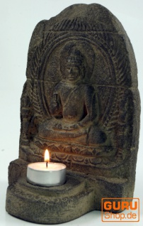 Minitempel, Buddhafigur, Teelichthalter aus Stein