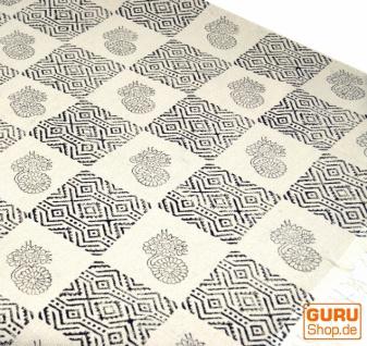 Hangewebter Blockdruck Teppich aus natur Baumwolle mit traditionellem Design - weiß/dunkel blau Muster 11
