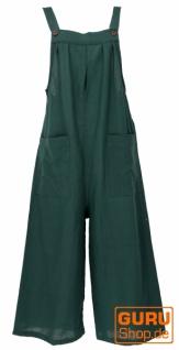 Sommerliche Latzhose, Ethno Style Boho oversize Einteiler, Overall - dunkelgrün