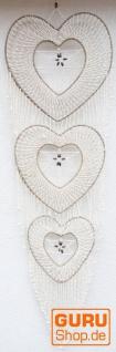 Große Maritime Wanddekoration, 3-Herzen aus Muschelgeflecht - natur